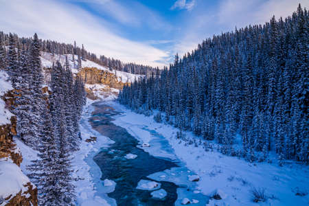A freezing river in the Canadian Rockies, Alberta, Canada