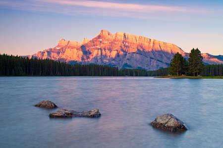 Two Jack Lake in Banff National Park at sunrise, Alberta, Canada