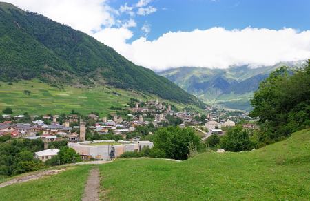 svaneti: Ancient svan towers in Ushguli village in the upper Svaneti region in Georgia Stock Photo