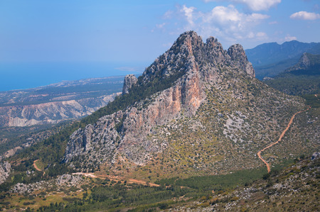 alluvial: A great cloud hung over the mountain. Mountain Landscape in Cyprus