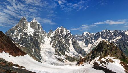Ushba mountain in the Main Caucasian ridge. Georgia