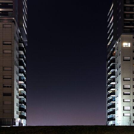presence: Home House night light human presence Stock Photo