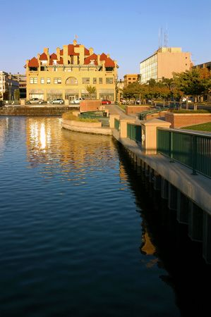 weber: Waterfront Cityscape of All American City Award Recipient, Stockton, California, Reflected in River at Weber Point