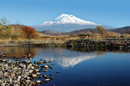 Mount Shasta Reflected in Creek under Clear Blue Sky, Northern California, USA, Portrait Composure