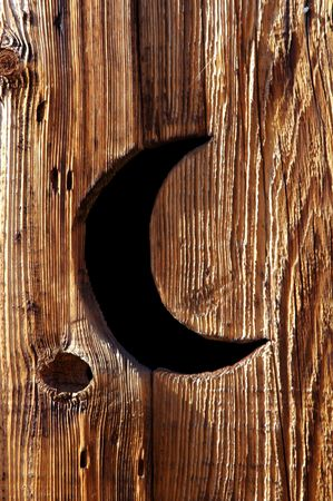 crescent moon: Abandoned Wooden Privy with Classic Crescent Moon Cut In Door, Back Country Wilderness, Sierra Nevada Range