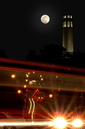 coit: Full Moon Over Coit Tower with Traffic Light Motion Blur, Telegraph Hill, San Francisco, California