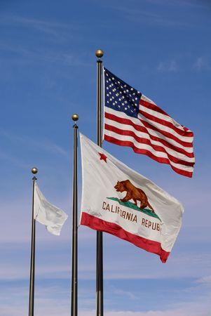 American Flag, California Flag, White Flag, Flying Full Mast Against Blue Summer Sky