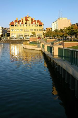 Waterfront Cityscape of All American City Award Recipient, Stockton, California, Reflected in River at Weber Point