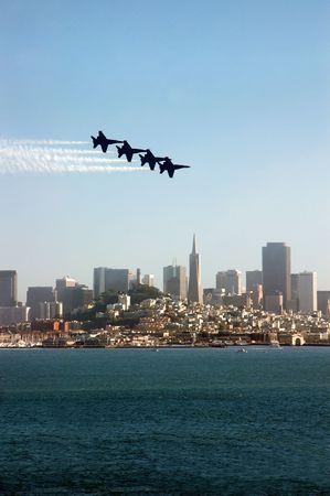 Fighter Jets Flying in Formation Over San Francisco Skyline