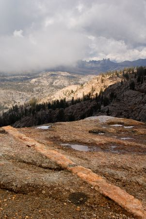 erratic: Quartz Intrusion in Granite after Mountain Rain
