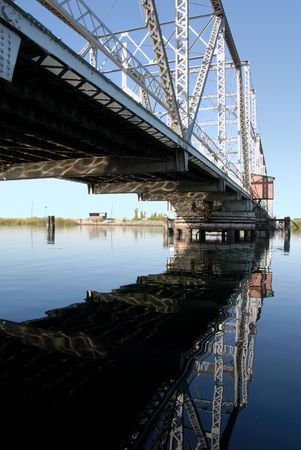 san joaquin: Reflection of Pivoting Steel Levy Bridge, San Joaquin Delta Agricultural Area, California