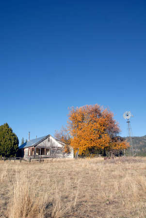 ranch house: Abandoned Ranch House in Autumn Stock Photo