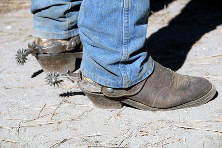 Well Worn Workin Cowboy Western Boot With Buckaroo Spurs Stock Photo - 2274451