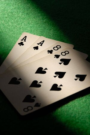 eights: Detail of Aces and Eights, the Deadmans Poker Hand Held By Wild Bill Hickok When He Was Shot