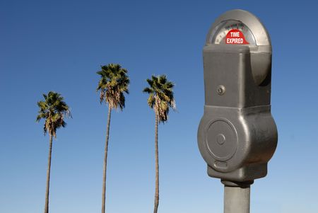 finite: Expired Parking Meter Against Palm Trees and Sky Illustrate Time Conciousness