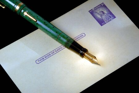 Retro Aged, Three Cent Postcard, Vintage Fountain Pen Stock Photo - 2274462
