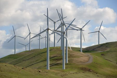 altamont pass: Cluster of Electrical Power Generating Wind Turbine on Rolling Hills, Altamont Pass,  California