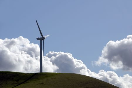 altamont pass: Electrical Power Generating Wind Turbine and Brilliant Clouds, Altamont Pass,  California