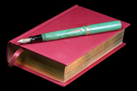 reading material: Colorful Red Book And Retro Fountain Pen