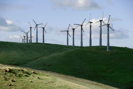 altamont pass: Electrical Power Generating Wind Turbines on Green Rolling Hills, Altamont Pass,  California Stock Photo