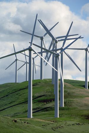 energies: Abstract Cluster of Electrical Power Generating Wind Turbine on Rolling Hills, Altamont Pass,  California