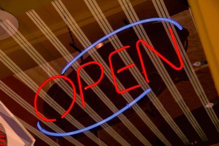 Neon Open Sign on Vanishing Rake