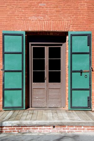 Vintage Steel Fire Doors On Old Brick Building in an American Gold Mining Town Stock Photo - 2690517