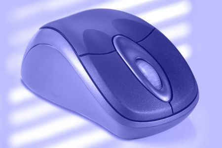 Macro detail of wireless computer mouse in muted blue tones. Stock Photo - 2817895