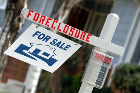 For Sale Real Estate Sign With Foreclosure Notice Stock Photo - 3398994