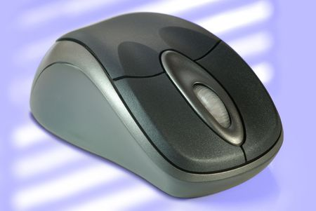 Macro detail of wireless computer mouse on muted pastel tones. Stock Photo - 3399026