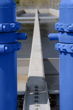 hatchery: Fresh Water Pipes, Stainless Steel and Blue Painted, at Salmon Fish Hatchery in California Stock Photo