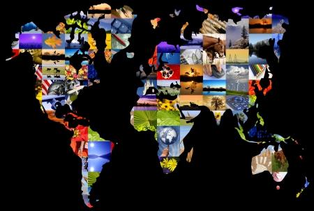 Collage of photographer's color photographs set over world map. Foto de archivo