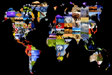Collage of photographers color photographs set over world map.
