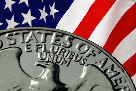 赤、白、アメリカの国旗とアメリカ合衆国のヴィンテージ, レトロ, 1967年米国四半期から青