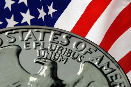 Red, White, and Blue From American Flag and United States of America on Vintage, Retro, 1967 United States Quarter Stock Photo