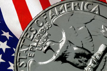 Red, White, and Blue From American Flag Reflected in E Pluribus Unum Motto on Vintage, Retro, 1967 United States Quarter Stock Photo - 3399183