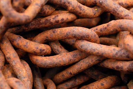 rusty chain: Macro of Rusty Chain Links