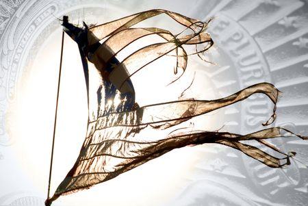 너덜 된 48 스타 2 차 세계 대전의 실루엣 통화와 배경에서 국가 기호 빈티지 미국 국기