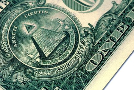 Great Seal of the United States on the reverse of a US Dollar Bill Stock Photo - 3420888