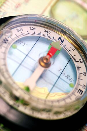 topographical: Transparent Navigational Compass on Topographical Map, Needle Pointing Dead North