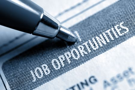 Job Opportunity Classified Advertising with Pen, Muted Duotone Banco de Imagens - 3420871