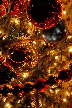 Christmas Ornaments on Indoor Decorated Tree Stock Photo - 3482098