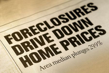 Selective Focus of Home Foreclosure Newspaper Headline Stock Photo - 3482019