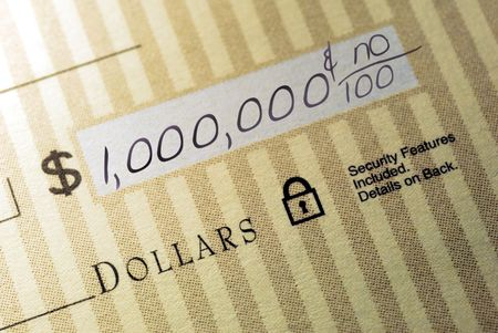 Macro Closeup of Check Made Out for One Million Dollars