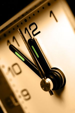 the anticipation: Closeup of Clock Hands, Alarm Set At Midnight, Anticipation Concept