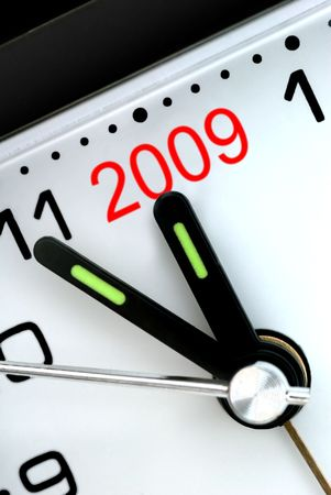Closeup of Clock Hands, Five Minutes to Midnight and The Year 2009 Stock Photo - 3481967