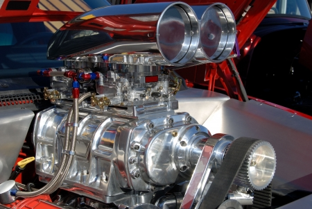 aluminum rod: Supercharger on an American Hot Rod engine. Stock Photo