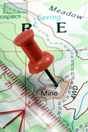 Red Push Pin on Topographical Map Indicating Location of Mining Claim