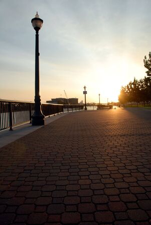 weber: Textured stone pavement at public park, Weber Point, in Stockton California