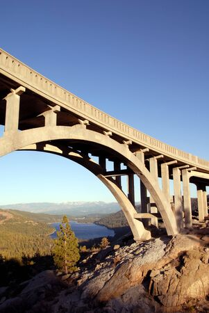 donner: Bridge on old road at Donner Pass, overlooking Donner Lake, Sierra Nevada, California Stock Photo
